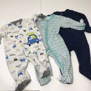 Lot of 3: Baby Sleep & Play Footed Playsuits 0-6Mo